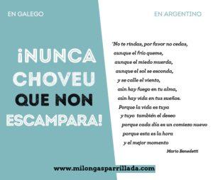 Versión en galego y en argentino Milongas Parrillada